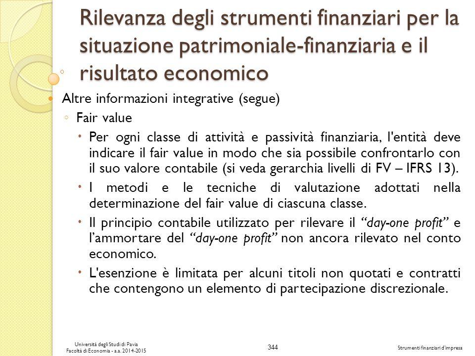 344 Università degli Studi di Pavia Facoltà di Economia - a.a.