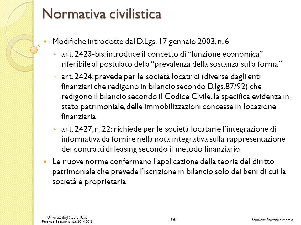 356 Università degli Studi di Pavia Facoltà di Economia - a.a.