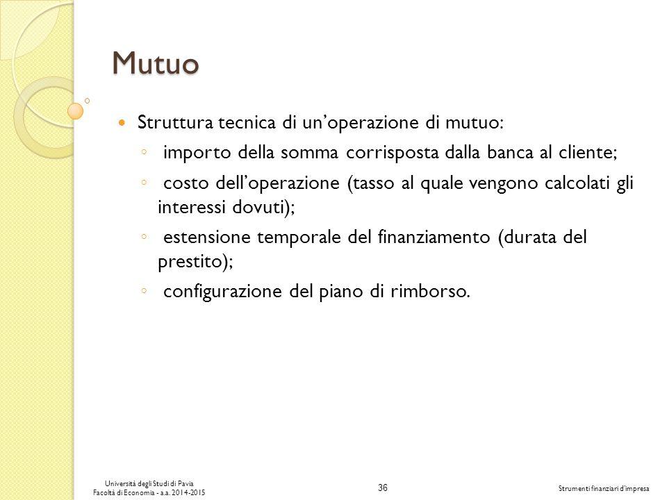 36 Università degli Studi di Pavia Facoltà di Economia - a.a.