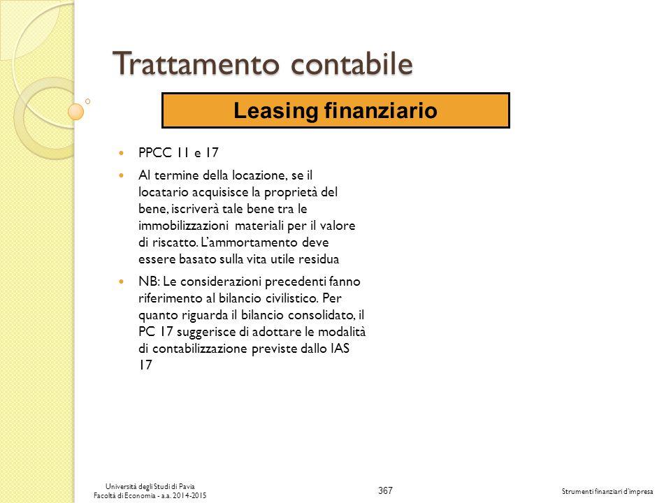 367 Università degli Studi di Pavia Facoltà di Economia - a.a.
