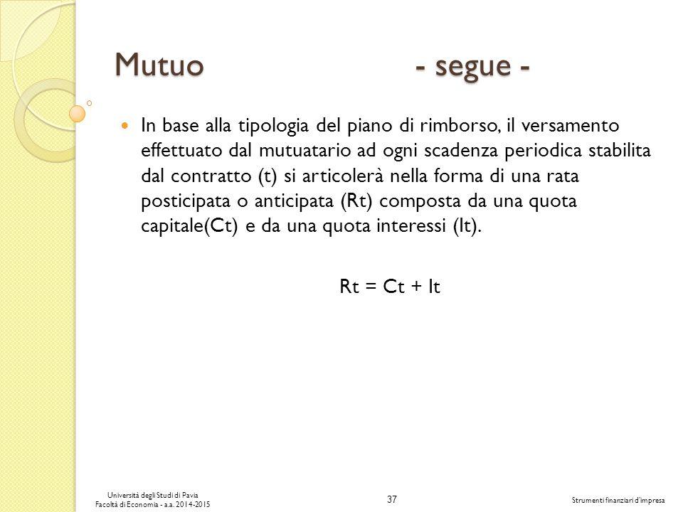 37 Università degli Studi di Pavia Facoltà di Economia - a.a.