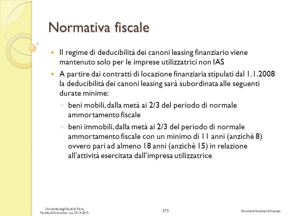 373 Università degli Studi di Pavia Facoltà di Economia - a.a.