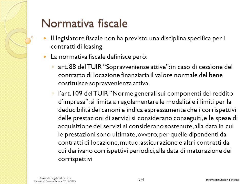 374 Università degli Studi di Pavia Facoltà di Economia - a.a.
