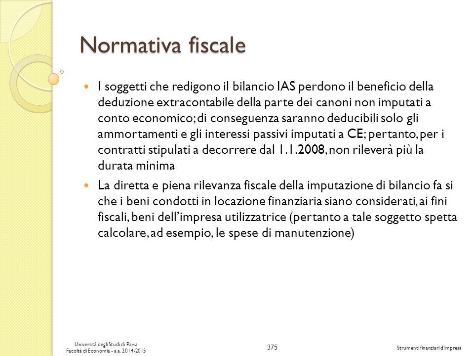 375 Università degli Studi di Pavia Facoltà di Economia - a.a.