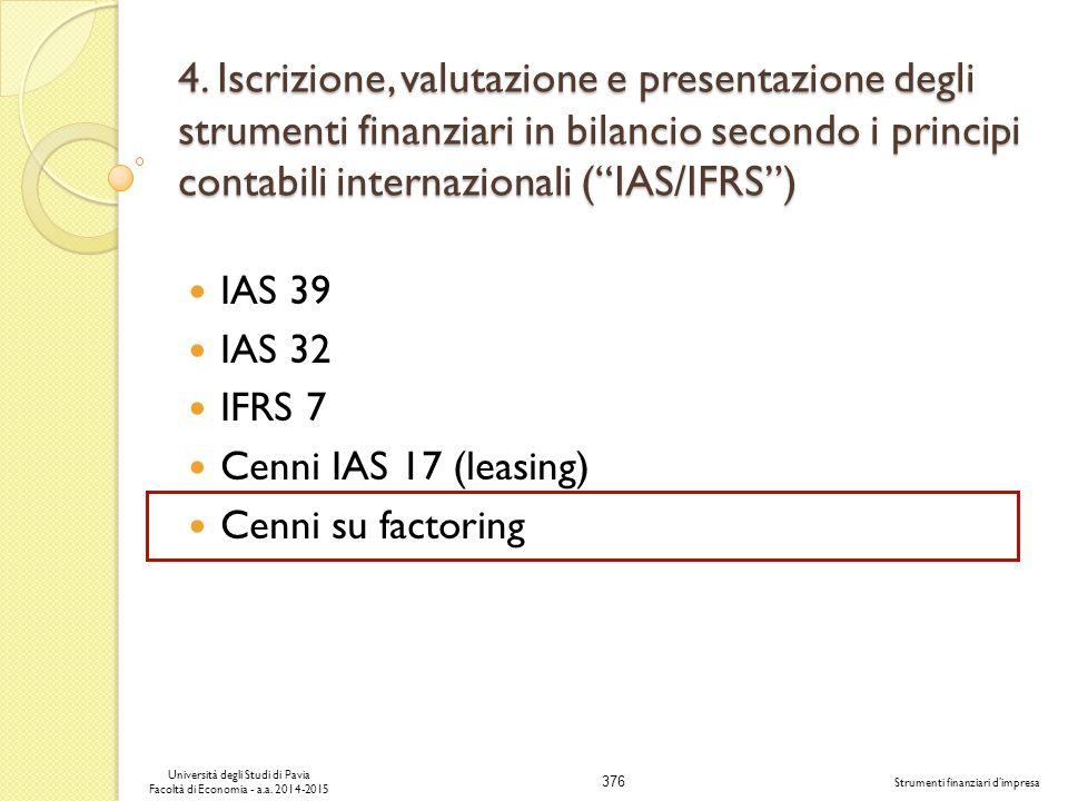 376 Università degli Studi di Pavia Facoltà di Economia - a.a.
