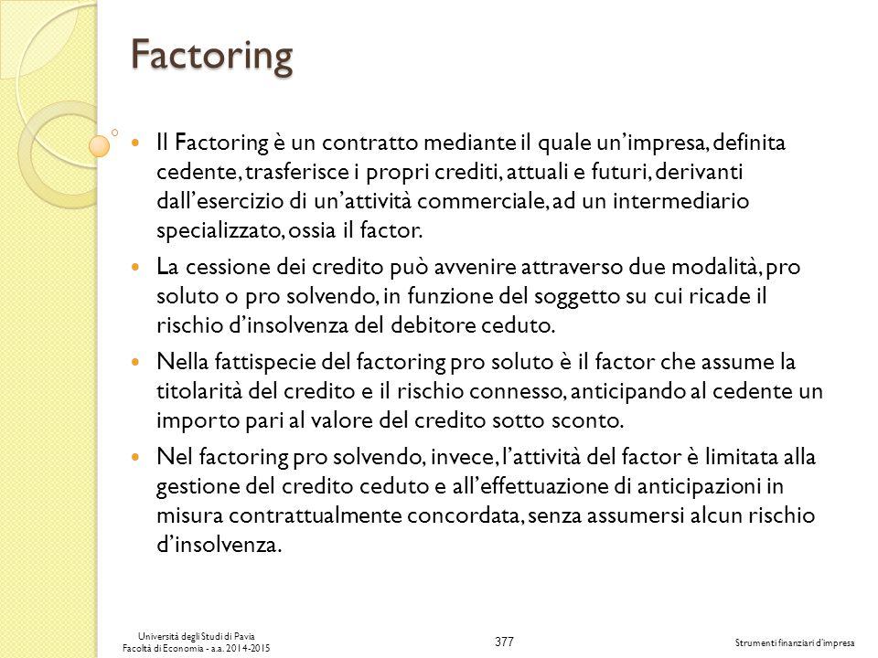 377 Università degli Studi di Pavia Facoltà di Economia - a.a.