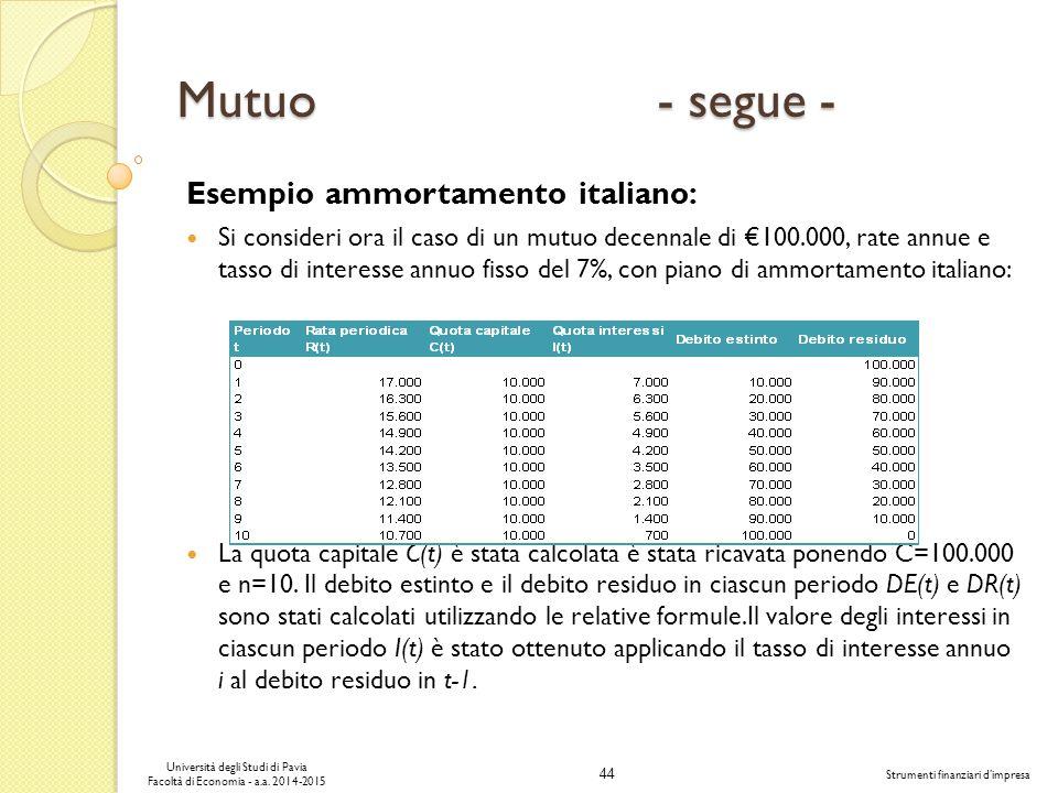 44 Università degli Studi di Pavia Facoltà di Economia - a.a.