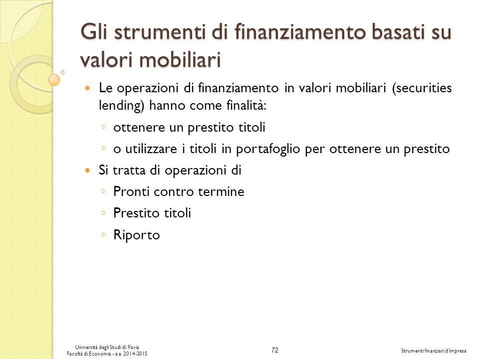 72 Università degli Studi di Pavia Facoltà di Economia - a.a.