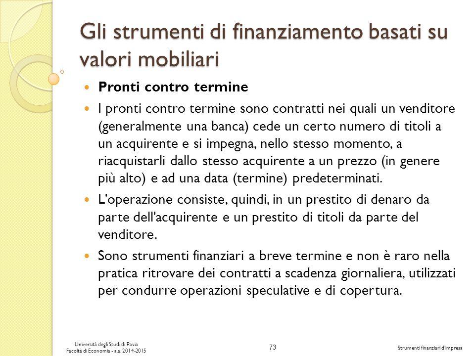 73 Università degli Studi di Pavia Facoltà di Economia - a.a.