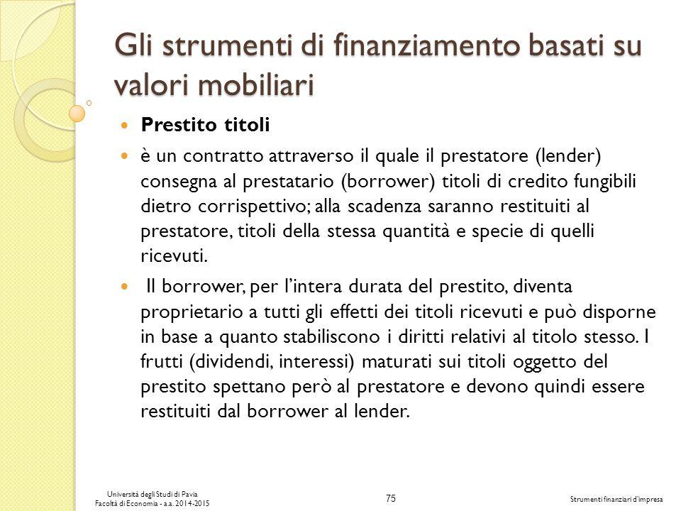 75 Università degli Studi di Pavia Facoltà di Economia - a.a.