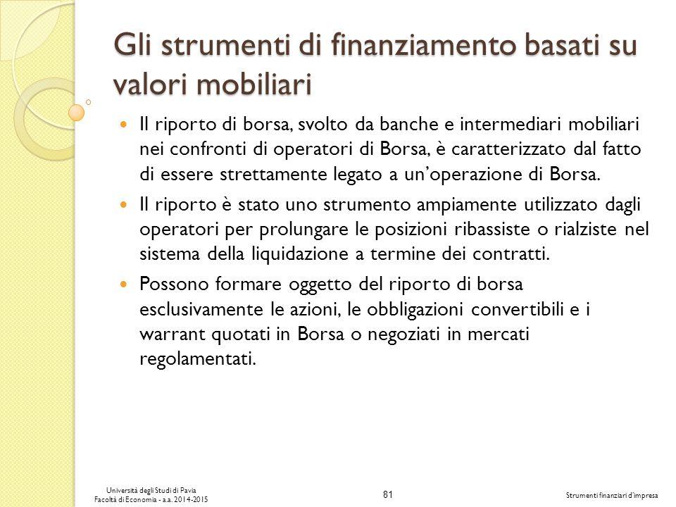 81 Università degli Studi di Pavia Facoltà di Economia - a.a.