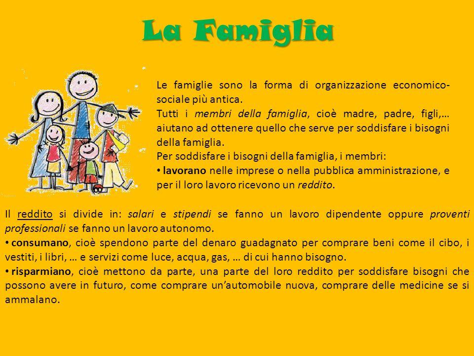 La Famiglia Le famiglie sono la forma di organizzazione economico- sociale più antica.