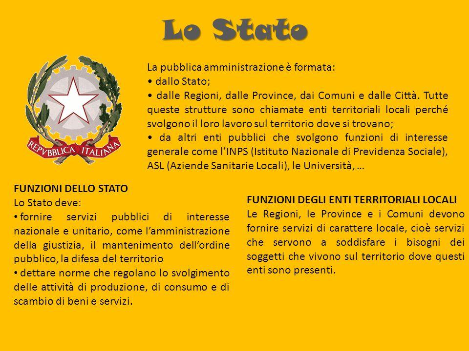 Lo Stato La pubblica amministrazione è formata: dallo Stato; dalle Regioni, dalle Province, dai Comuni e dalle Città.