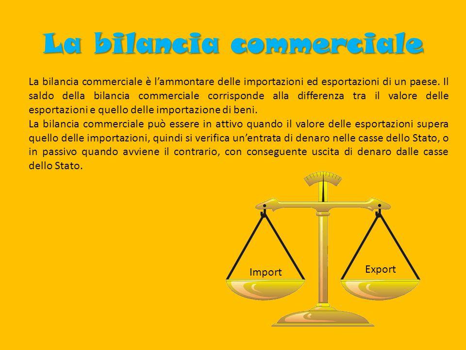 La bilancia commerciale La bilancia commerciale è l'ammontare delle importazioni ed esportazioni di un paese.