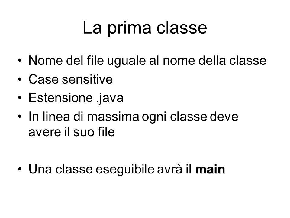 La prima classe Nome del file uguale al nome della classe Case sensitive Estensione.java In linea di massima ogni classe deve avere il suo file mainUna classe eseguibile avrà il main