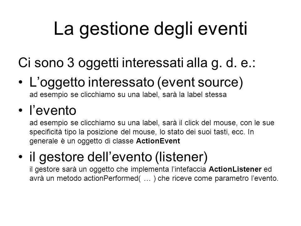 La gestione degli eventi Ci sono 3 oggetti interessati alla g.