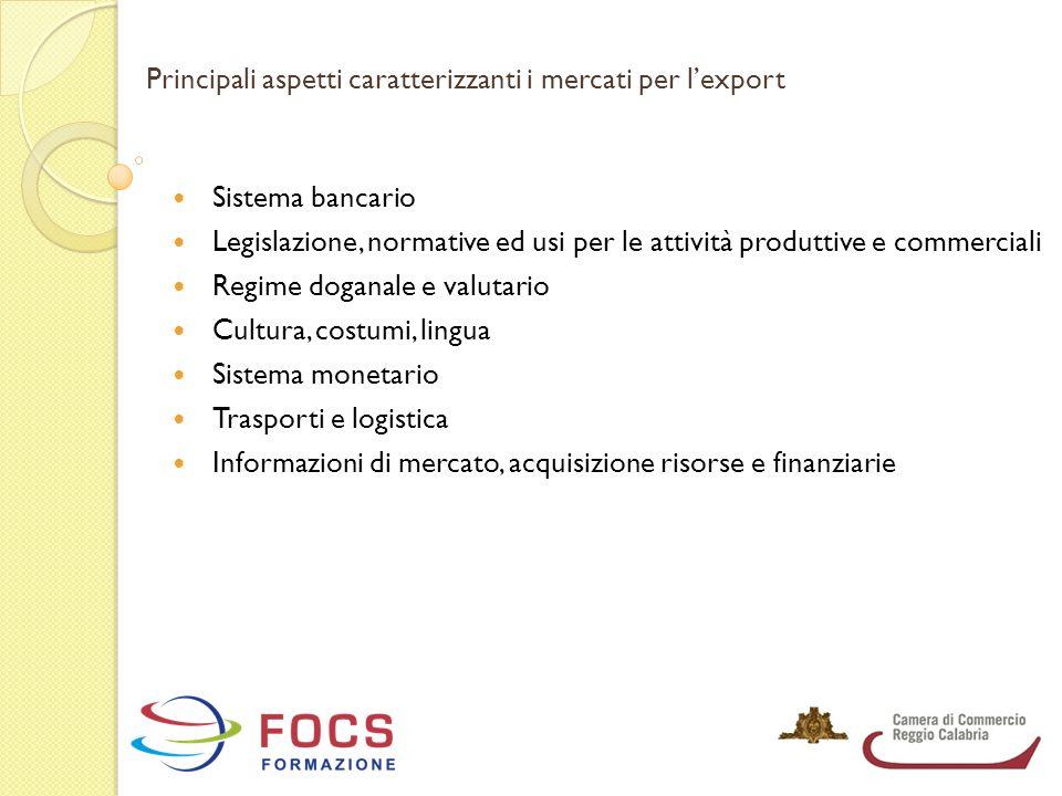 Principali aspetti caratterizzanti i mercati per l'export Sistema bancario Legislazione, normative ed usi per le attività produttive e commerciali Reg
