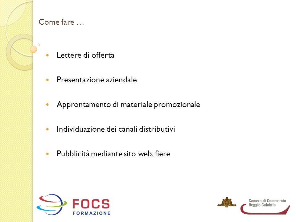 Come fare … Lettere di offerta Presentazione aziendale Approntamento di materiale promozionale Individuazione dei canali distributivi Pubblicità media