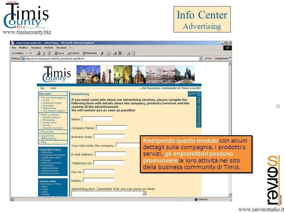 www.timiscounty.biz www.serverstudio.it Riempendo questo modulo con alcuni dettagli sulla compagnia, i prodotti o servizi, gli imprenditori possono promuovere la loro attività nel sito della business community di Timis.