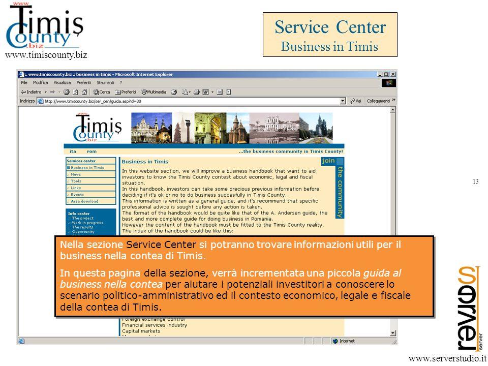 Service Center Business in Timis www.timiscounty.biz www.serverstudio.it Nella sezione Service Center si potranno trovare informazioni utili per il business nella contea di Timis.
