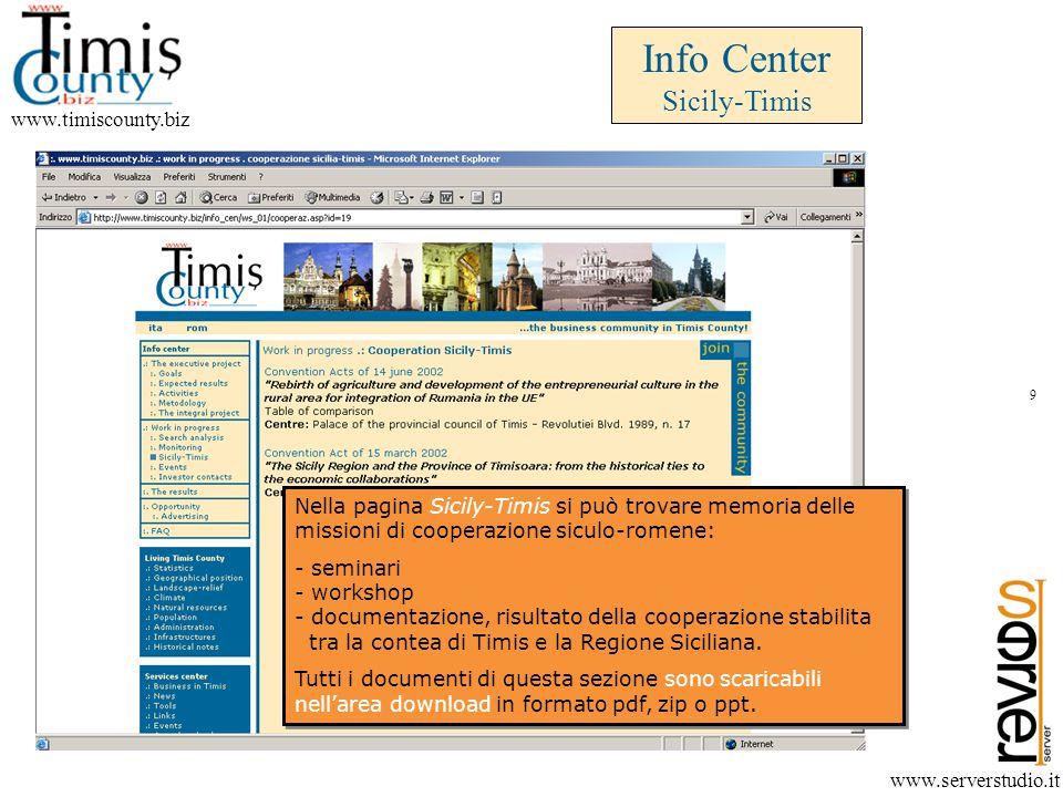 Info Center Investor contacts www.timiscounty.biz www.serverstudio.it La sezione Info Center aiuterà anche a creare nuovi contatti ed a mantenere quelli già sviluppati con gli attori locali e con gli imprenditori potenziali investitori.