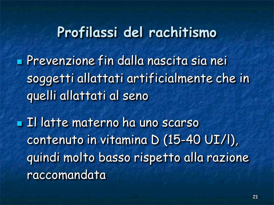 21 Profilassi del rachitismo Prevenzione fin dalla nascita sia nei soggetti allattati artificialmente che in quelli allattati al seno Prevenzione fin