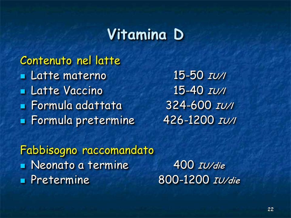 22 Vitamina D Contenuto nel latte Latte materno15-50 IU/l Latte materno15-50 IU/l Latte Vaccino15-40 IU/l Latte Vaccino15-40 IU/l Formula adattata324-