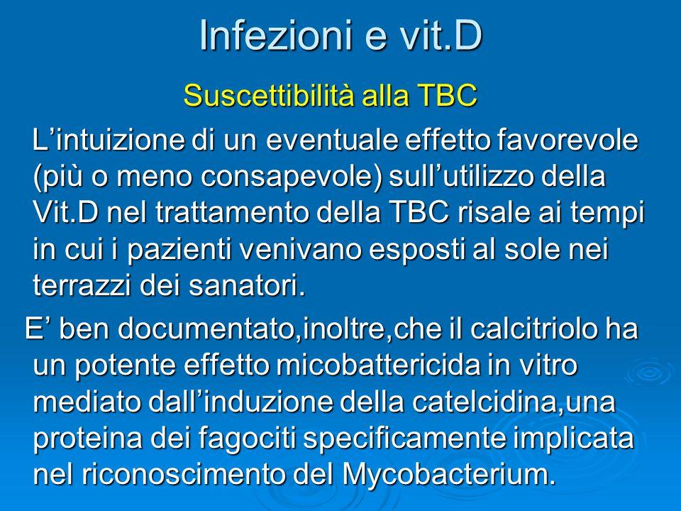 Infezioni e vit.D Suscettibilità alla TBC Suscettibilità alla TBC L'intuizione di un eventuale effetto favorevole (più o meno consapevole) sull'utiliz