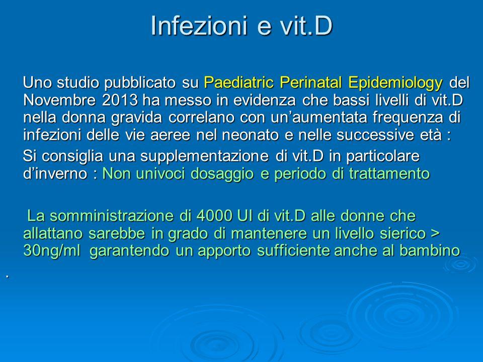 Infezioni e vit.D Uno studio pubblicato su Paediatric Perinatal Epidemiology del Novembre 2013 ha messo in evidenza che bassi livelli di vit.D nella d