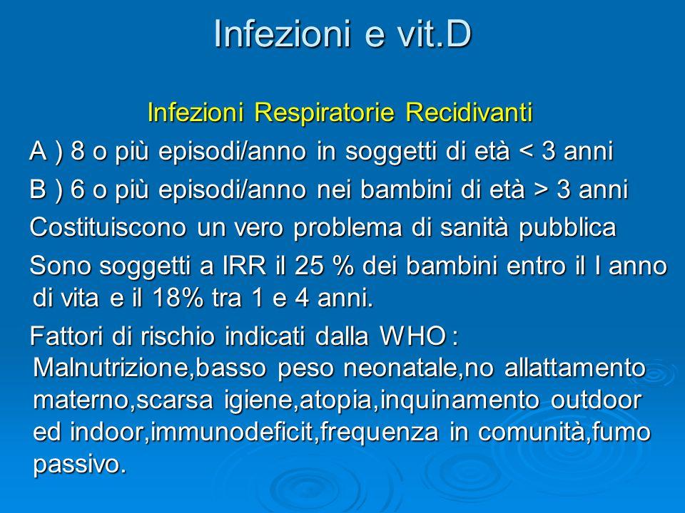 Infezioni e vit.D Infezioni Respiratorie Recidivanti Infezioni Respiratorie Recidivanti A ) 8 o più episodi/anno in soggetti di età < 3 anni A ) 8 o p