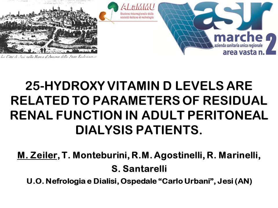 25-HYDROXY VITAMIN D LEVELS ARE RELATED TO PARAMETERS OF RESIDUAL RENAL FUNCTION IN ADULT PERITONEAL DIALYSIS PATIENTS.