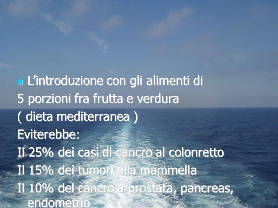 L'introduzione con gli alimenti di L'introduzione con gli alimenti di 5 porzioni fra frutta e verdura ( dieta mediterranea ) Eviterebbe: Il 25% dei ca