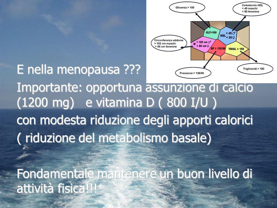 E nella menopausa ??? Importante: opportuna assunzione di calcio (1200 mg) e vitamina D ( 800 I/U ) con modesta riduzione degli apporti calorici ( rid