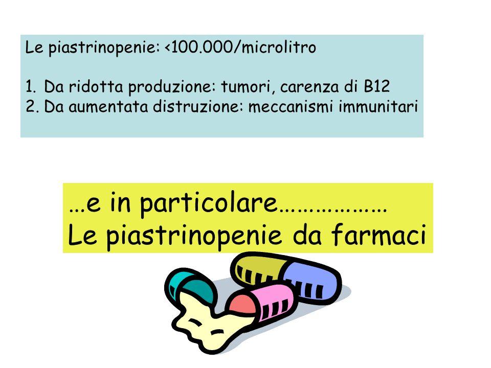 Le piastrinopenie: <100.000/microlitro 1.Da ridotta produzione: tumori, carenza di B12 2.Da aumentata distruzione: meccanismi immunitari …e in partico