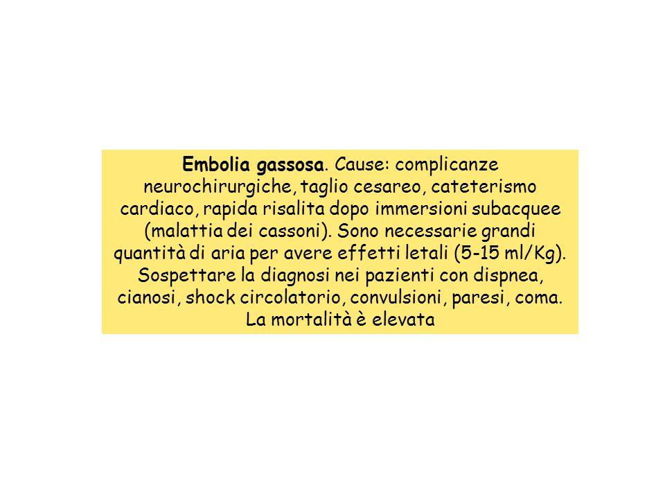 Embolia gassosa. Cause: complicanze neurochirurgiche, taglio cesareo, cateterismo cardiaco, rapida risalita dopo immersioni subacquee (malattia dei ca