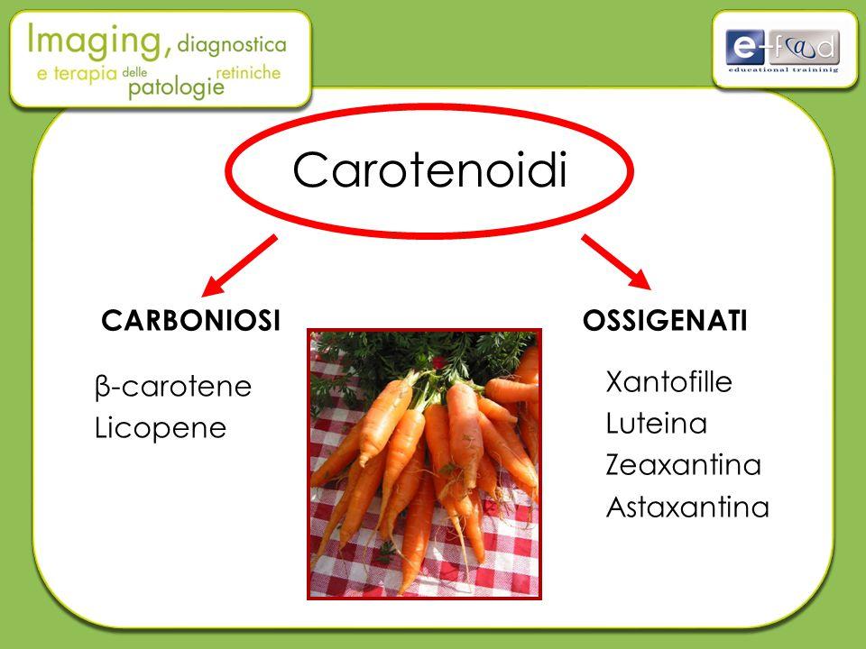 Carotenoidi CARBONIOSIOSSIGENATI β-carotene Licopene Xantofille Luteina Zeaxantina Astaxantina