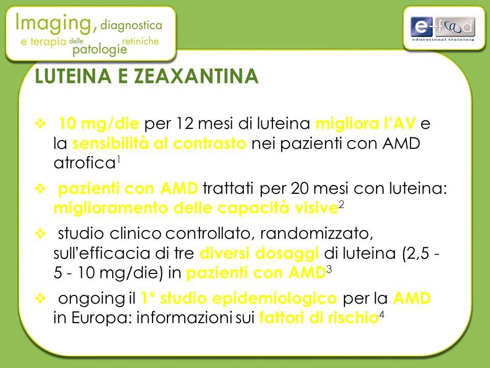 LUTEINA E ZEAXANTINA  10 mg/die per 12 mesi di luteina migliora l'AV e la sensibilità al contrasto nei pazienti con AMD atrofica 1  pazienti con AMD trattati per 20 mesi con luteina: miglioramento delle capacità visive 2  studio clinico controllato, randomizzato, sull'efficacia di tre diversi dosaggi di luteina (2,5 - 5 - 10 mg/die) in pazienti con AMD 3  ongoing il 1° studio epidemiologico per la AMD in Europa: informazioni sui fattori di rischio 4