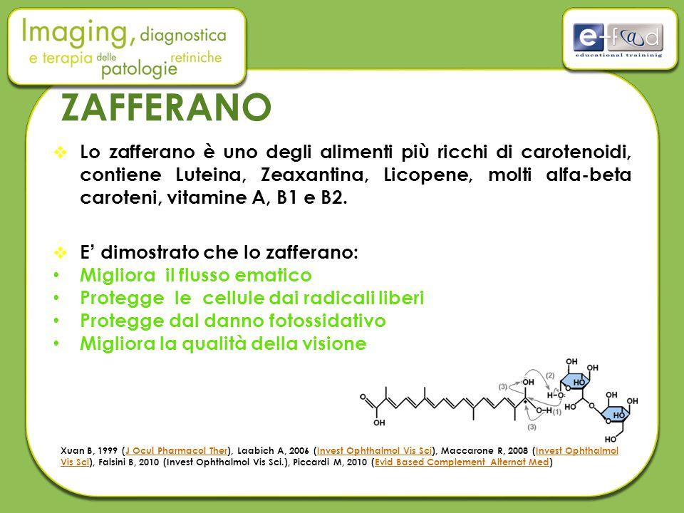 ZAFFERANO  Lo zafferano è uno degli alimenti più ricchi di carotenoidi, contiene Luteina, Zeaxantina, Licopene, molti alfa-beta caroteni, vitamine A, B1 e B2.