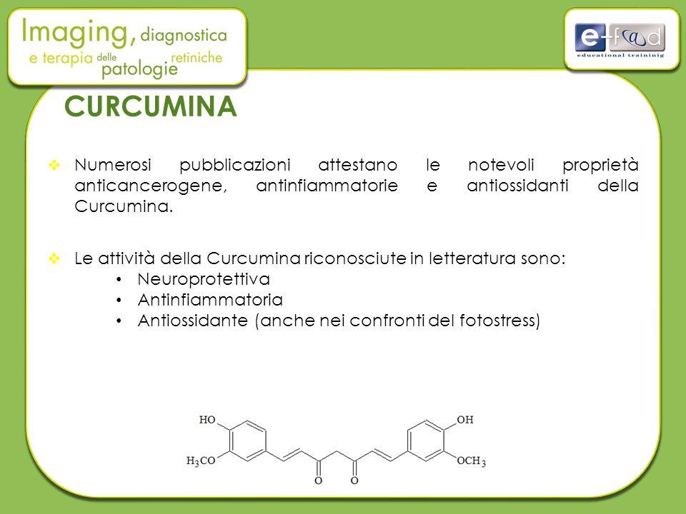 CURCUMINA  Numerosi pubblicazioni attestano le notevoli proprietà anticancerogene, antinfiammatorie e antiossidanti della Curcumina.