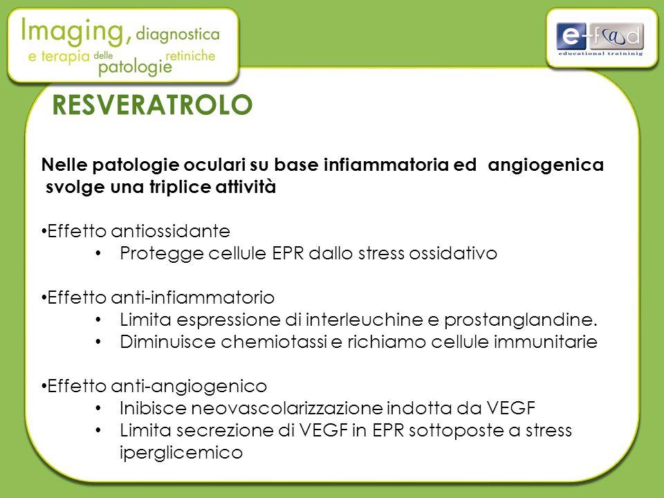 Nelle patologie oculari su base infiammatoria ed angiogenica svolge una triplice attività Effetto antiossidante Protegge cellule EPR dallo stress ossidativo Effetto anti-infiammatorio Limita espressione di interleuchine e prostanglandine.
