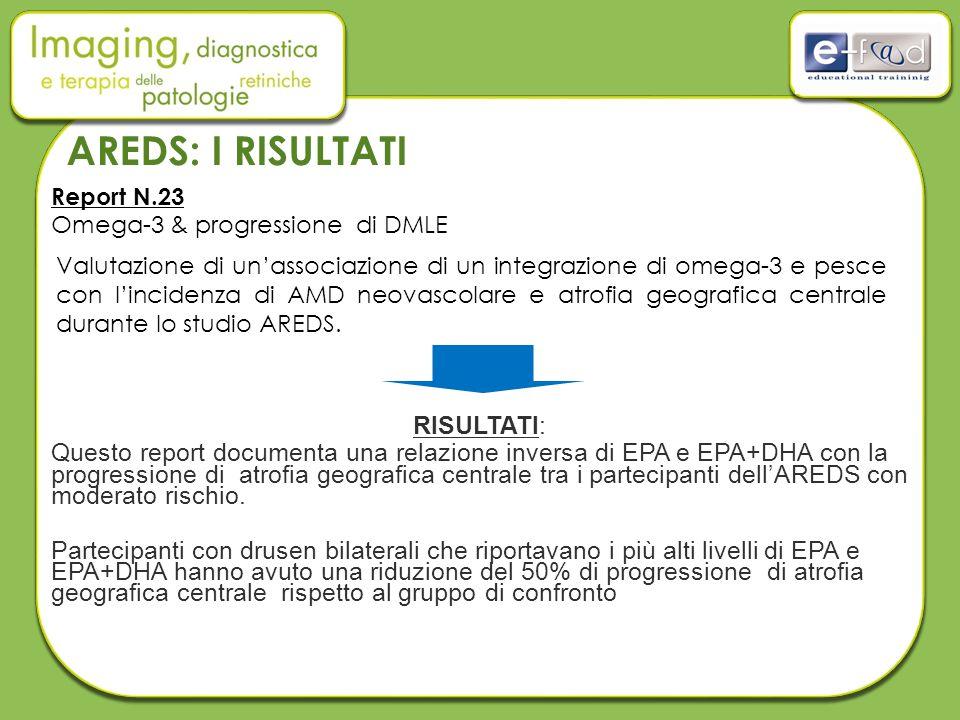 Report N.23 Omega-3 & progressione di DMLE RISULTATI: Questo report documenta una relazione inversa di EPA e EPA+DHA con la progressione di atrofia geografica centrale tra i partecipanti dell'AREDS con moderato rischio.