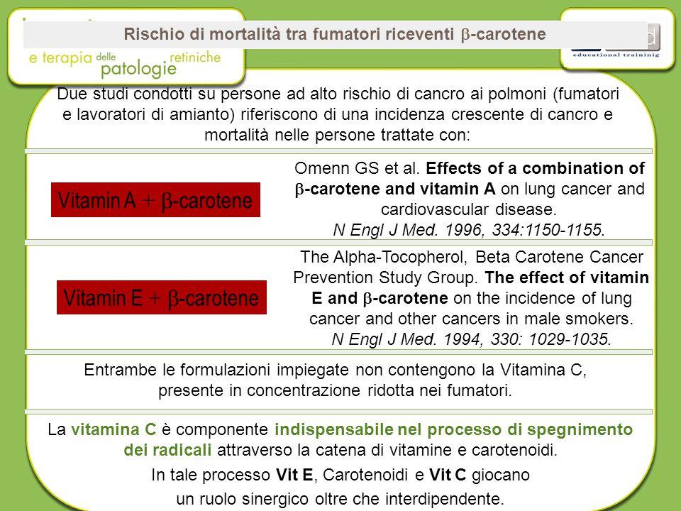Rischio di mortalità tra fumatori riceventi  -carotene Due studi condotti su persone ad alto rischio di cancro ai polmoni (fumatori e lavoratori di amianto) riferiscono di una incidenza crescente di cancro e mortalità nelle persone trattate con: Vitamin A +  -carotene Vitamin E +  -carotene Entrambe le formulazioni impiegate non contengono la Vitamina C, presente in concentrazione ridotta nei fumatori.