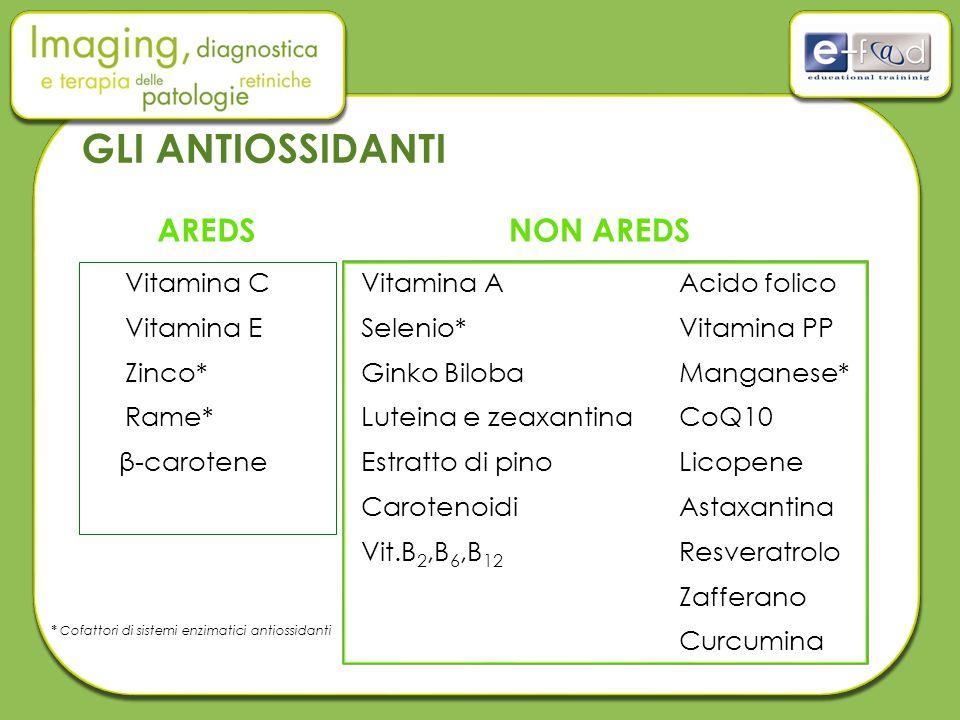 GLI ANTIOSSIDANTI Vitamina C Vitamina E Zinco* Rame* β-carotene AREDSNON AREDS Vitamina A Selenio* Ginko Biloba Luteina e zeaxantina Estratto di pino Carotenoidi Vit.B 2,B 6,B 12 Acido folico Vitamina PP Manganese* CoQ10 Licopene Astaxantina Resveratrolo Zafferano Curcumina * Cofattori di sistemi enzimatici antiossidanti
