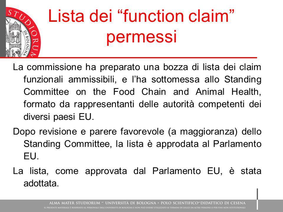 """Lista dei """"function claim"""" permessi La commissione ha preparato una bozza di lista dei claim funzionali ammissibili, e l'ha sottomessa allo Standing C"""