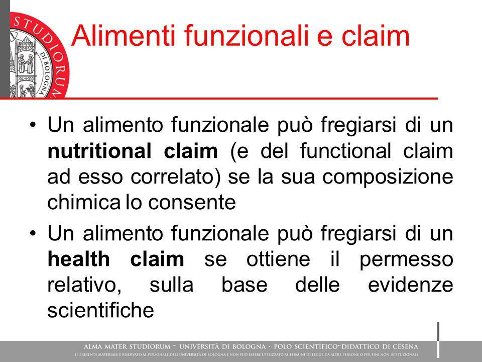Alimenti funzionali e claim Un alimento funzionale può fregiarsi di un nutritional claim (e del functional claim ad esso correlato) se la sua composiz