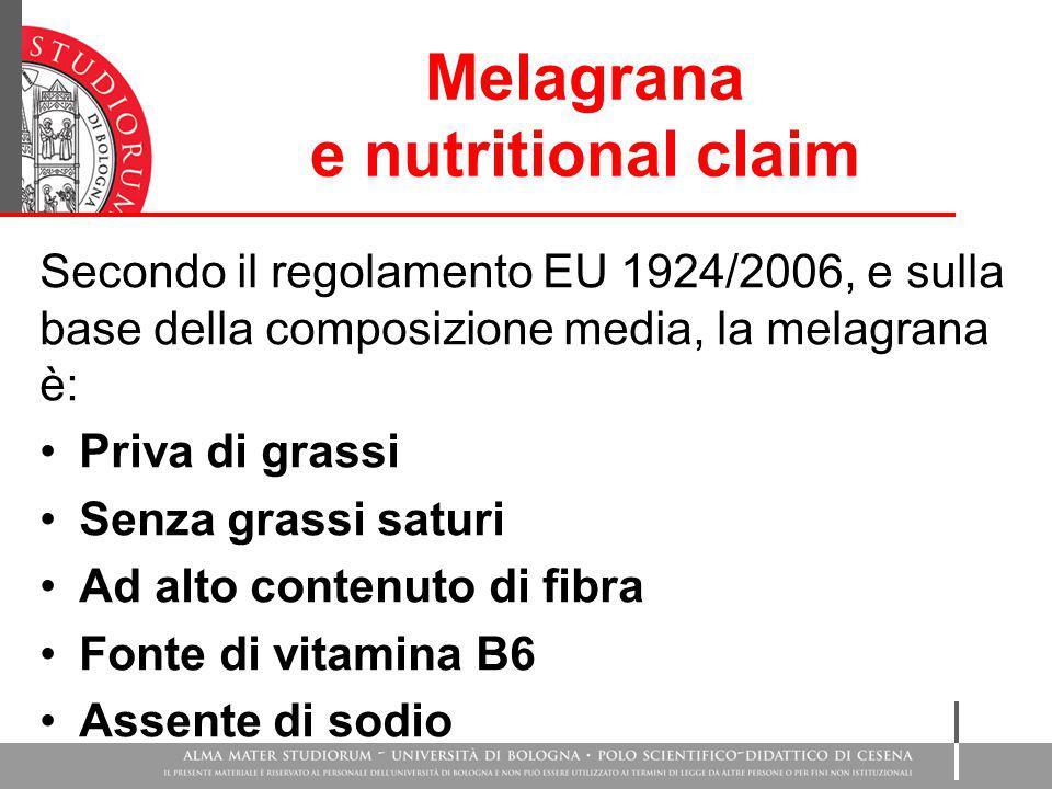 Melagrana e nutritional claim Secondo il regolamento EU 1924/2006, e sulla base della composizione media, la melagrana è: Priva di grassi Senza grassi