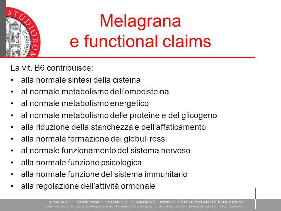 Melagrana e functional claims La vit. B6 contribuisce: alla normale sintesi della cisteina al normale metabolismo dell'omocisteina al normale metaboli