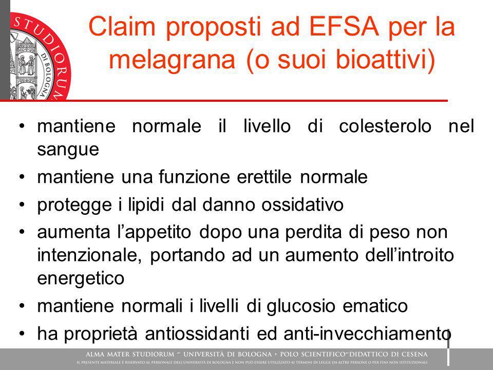 Claim proposti ad EFSA per la melagrana (o suoi bioattivi) mantiene normale il livello di colesterolo nel sangue mantiene una funzione erettile normal