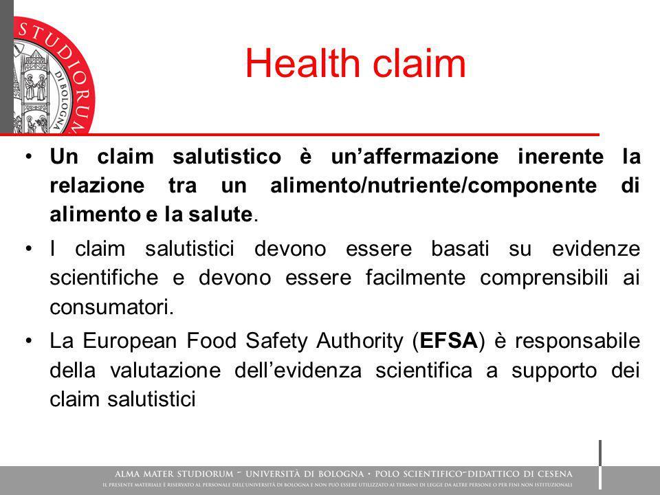Health claim Un claim salutistico è un'affermazione inerente la relazione tra un alimento/nutriente/componente di alimento e la salute. I claim saluti