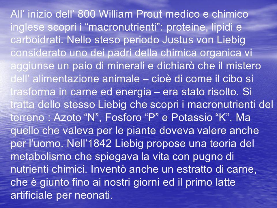 """All' inizio dell' 800 William Prout medico e chimico inglese scopri i """"macronutrienti"""": proteine, lipidi e carboidrati. Nello steso periodo Justus von"""